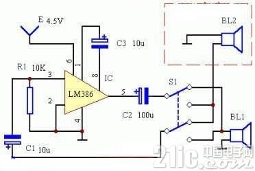 用LM386制作半双工对讲机电路图