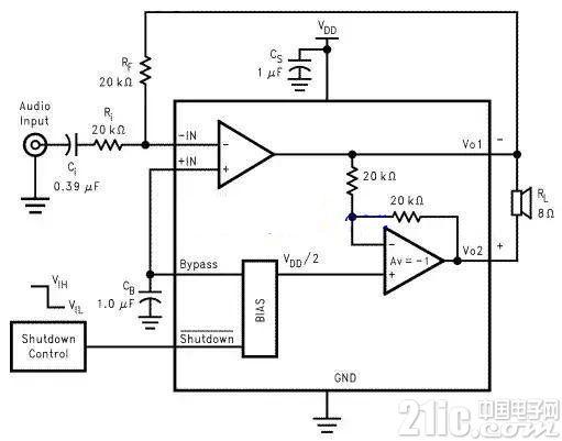 LM4889音频功率放大器电路图