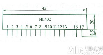HL402的外形尺寸及引脚排列