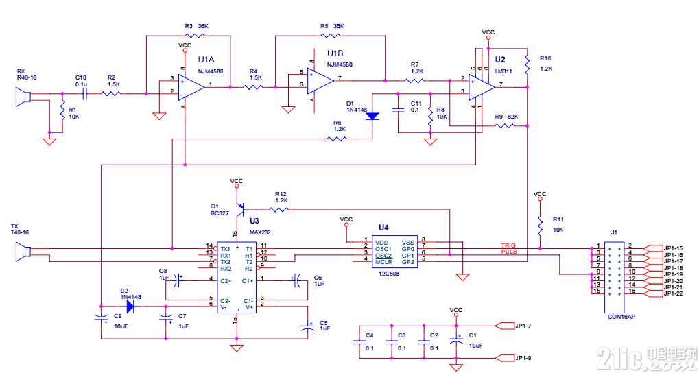 超声波测距电路图