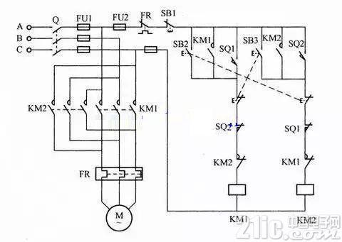 行程开关电路图_行程开关控制接线图