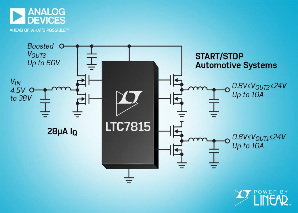 三路输出、降压 / 降压 / 升压型同步 DC/DC 控制器 在汽车启 / 停系统中以高达 2.25MHz 工作并具有 28μA IQ