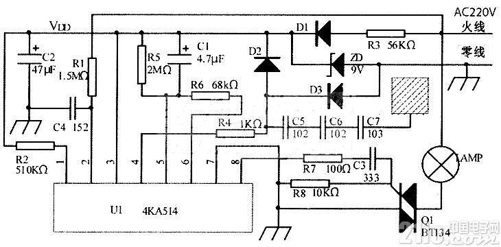 LS7538/TT6061/4KA514触摸式步进调光台灯电路图