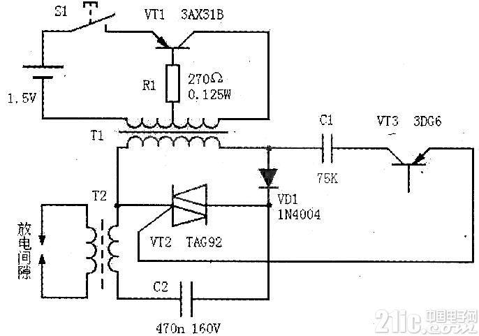 一款煤气灶点火器电路Electronic ignition