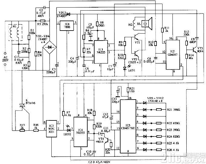 15W电子驱虫器电路图