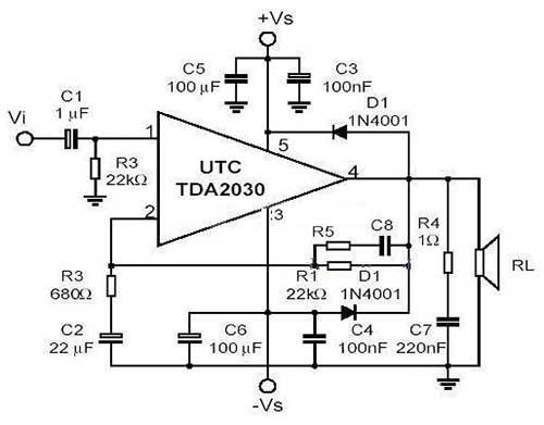 TDA2030音频功放电路图