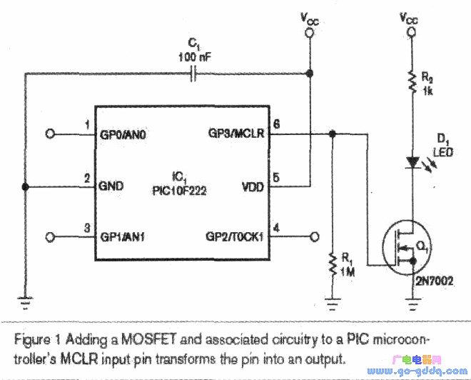 采用MCLR引脚作PIC微处理器的输出
