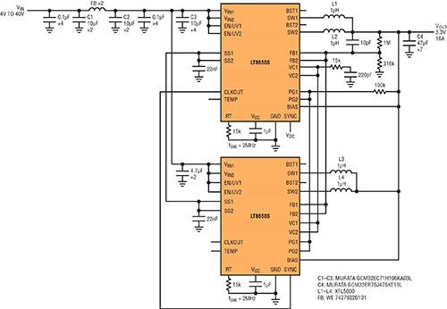 高功率单片式 Silent Switcher 2 稳压器 满足 CISPR 25 Class 5 EMI 限制要求并适合狭小的安放空间