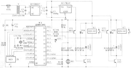 AT89C2051单片机双路路灯照明控制器