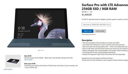 等待2个月,微软Surface Pro LTE消费者版正式开卖