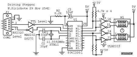 89C2051驱动步进电机的电路和源码