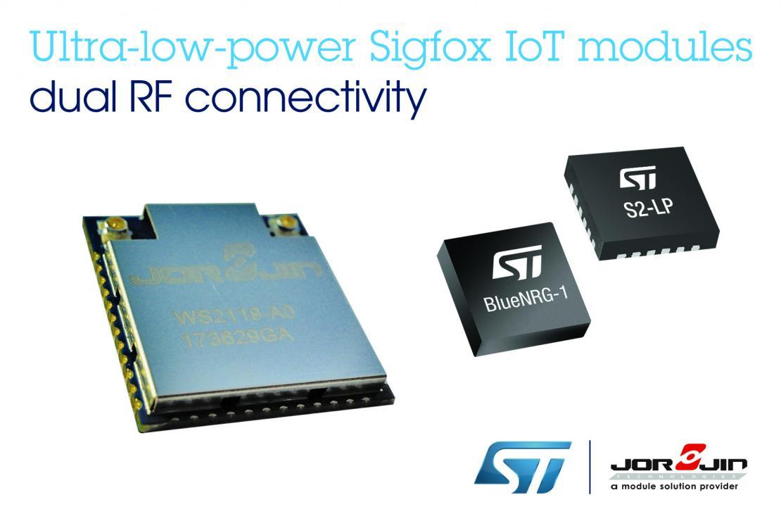 意法半导体与佐臻联合推出低功耗Sigfox与低功耗蓝牙BLE双功能无线IoT模块
