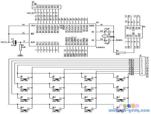 采用AT89S51的并行口P1接4×4矩阵键盘程序