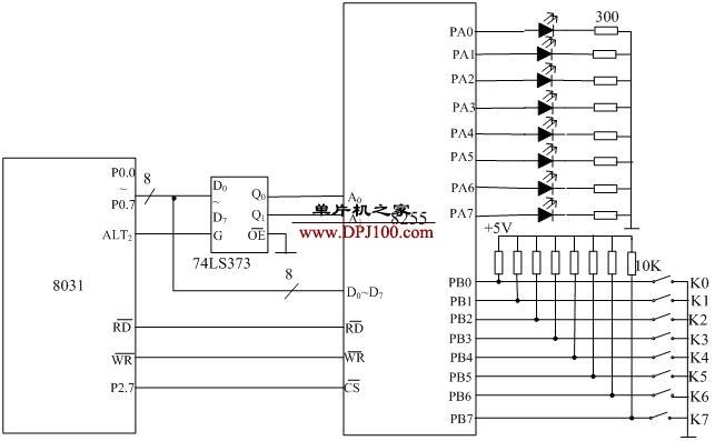 8031单片机扩展一片8255A控制发光二极管电路原理图及汇编