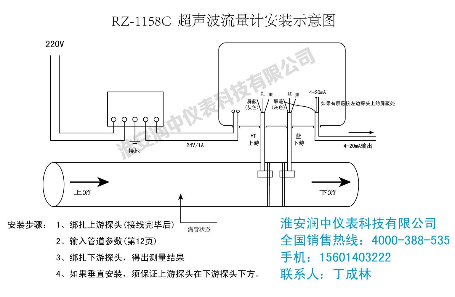 详解如何正确安装外夹式超声波流量计,附接线图