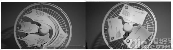 图2:使用卷帘快门的模糊的风扇图像(左图)和使用全局快门的非模糊版本(右图)