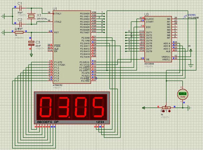 AT89C52+ADC0809��成的量程0-5V��罕�