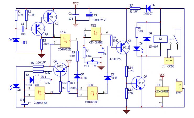 红外接近开关电路 本例红外接近开关电路是通过检测发射的红外线信号是否被发射来判断前方是否有物体,从而控制继电器的开关动作来控制其它电路(本例省略)。.png