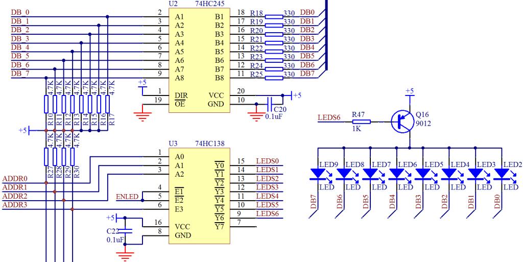 单片机中74HC138三八译码器的应用