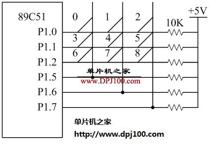 89C51单片机9个按键的行列式键盘输入电路