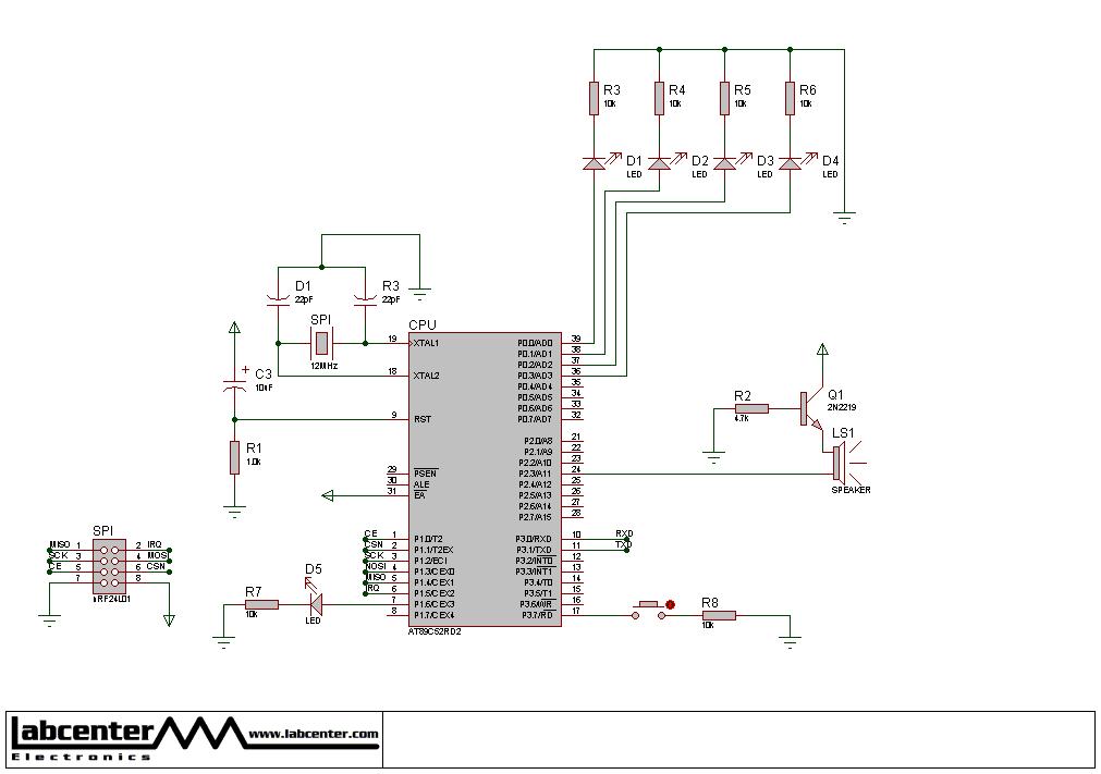 nRF24L01 无线模块 串口法命令 通过无线控制另一个的灯