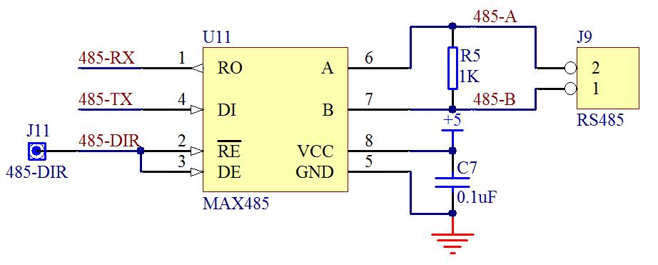 单片机 RS485 通信接口、控制线、原理图及程序实例