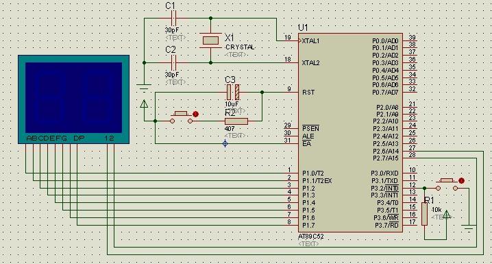 89c51按键选择计数模式通过数码管显示