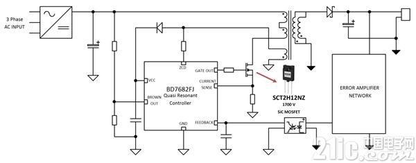 图3. 使用了BD768xFJ控制IC和1700V耐压SiC-MOSFET的辅助电源电路