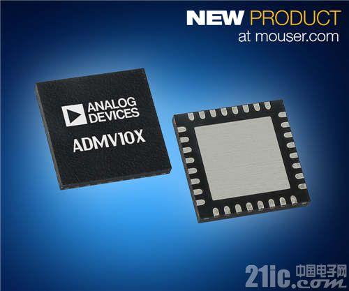 Analog Devices GaAs ADMV10x转换器在贸泽开售  为数据传输提供高品质升/降频转换