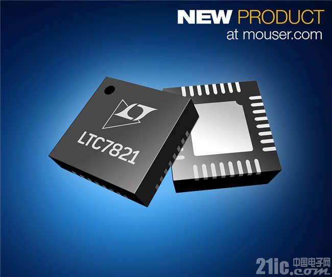 让解决方案尺寸锐减50%的Analog Devices Power by Linear 72V LTC7821混合式降压型控制器在贸泽开售