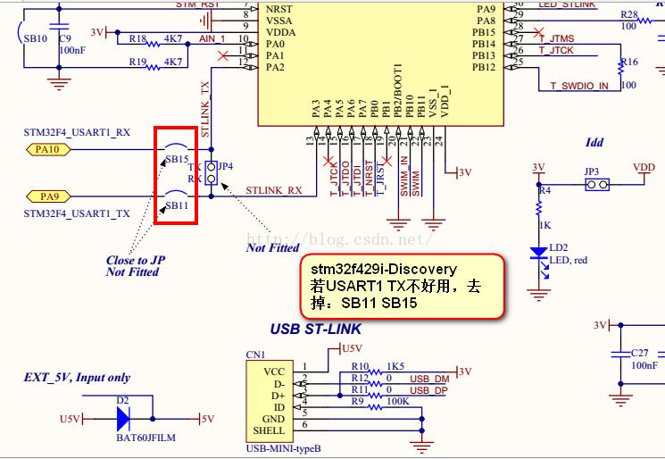 基于STM32F429-Discovery USART1 PA9 PA10 调试成功