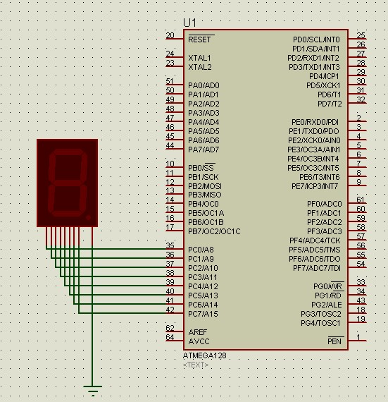avr单片机proteus仿真第三课:单只数码管