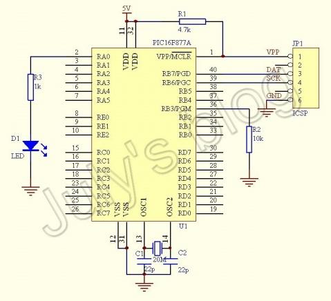 PIC16F877A最小系统原理图+定时器控制LED