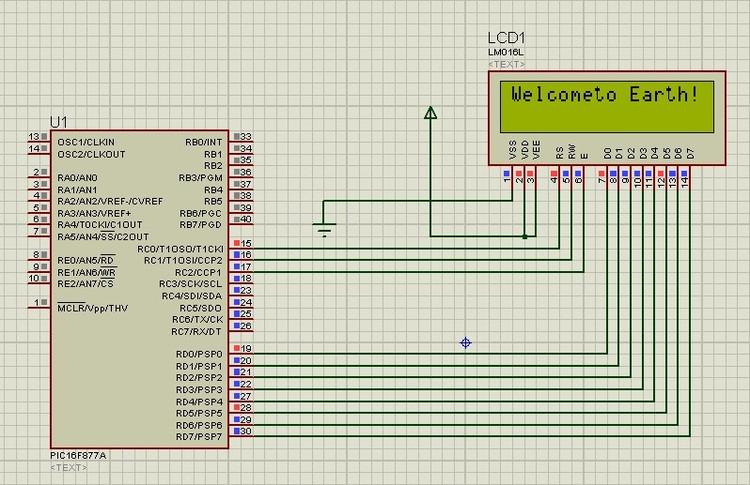 pic16f877连接LCD1602液晶显示