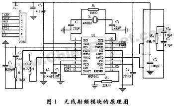 基于nrf401应用的无线收发芯片电路设计