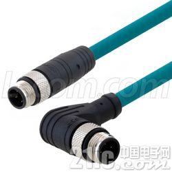 L-com针对狭窄空间内工业级连接应用的直角型M12线缆组件备货待售