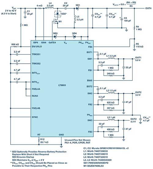 三通道降压稳压器配合升压型控制器以满足宽 VIN 范围汽车应用的严苛要求