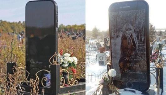 """果粉是如何炼成的:俄女孩去世,父母为她打造一尊""""iPhone 墓碑"""""""