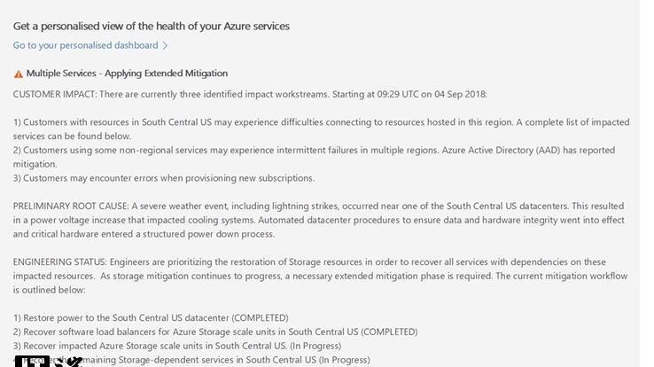 微软刚刚在渡劫?因遭雷劈,多个Azure服务受到影响