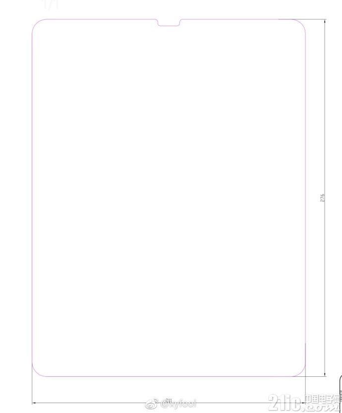 iPad Pro也有全面屏?疑似苹果iPad Pro玻璃膜尺寸曝光