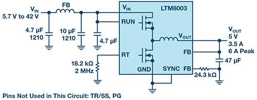 面向汽车和工业应用的 40 V 输入、3.5 A Silent Switcher μModule 稳压器