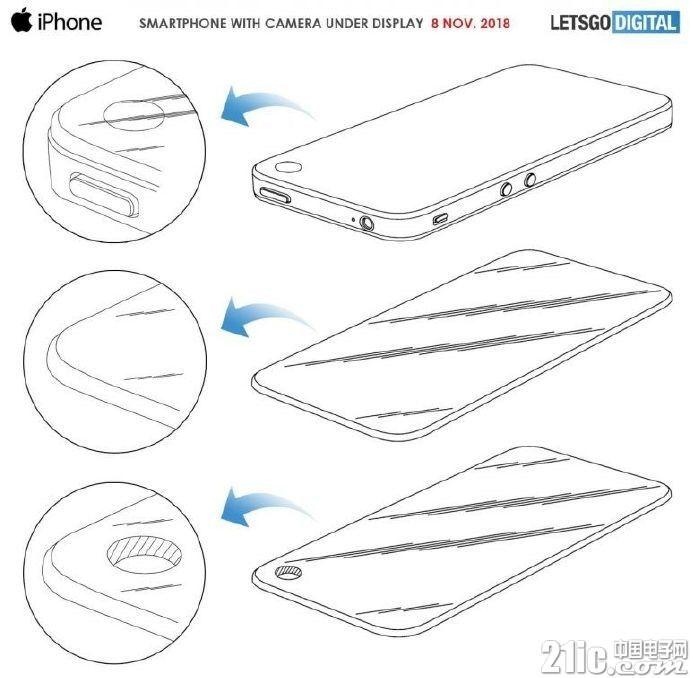 苹果也要舍弃刘海?屏幕开孔专利曝光,前置摄像头位于屏幕右上角