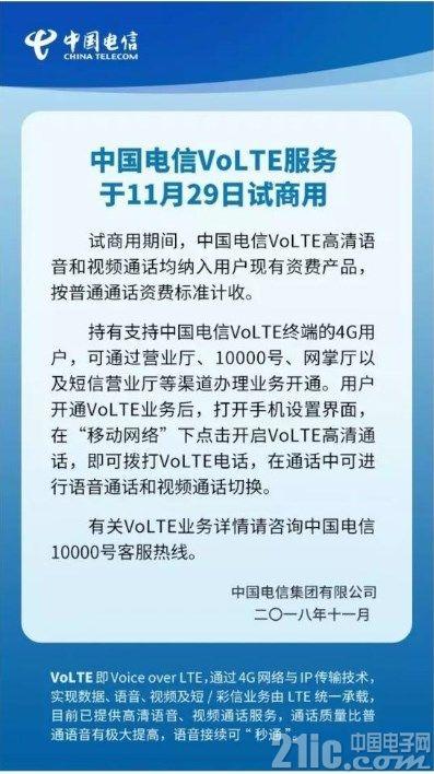 电信用户福利!中国电信全国范围内试商用VoLTE高清语音通话
