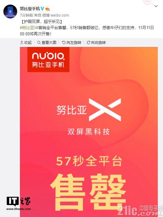 努比亚X双屏大受欢迎!首销全平台售罄,57秒破亿