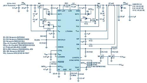 汽车USB Type-C电源解决方案:1平方英寸的45 W、2 MHz降压-升压控制器