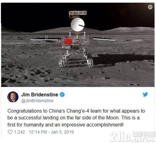NASA局长发文祝贺嫦娥四号月球背面着陆:这是人类首次,令人印象深刻