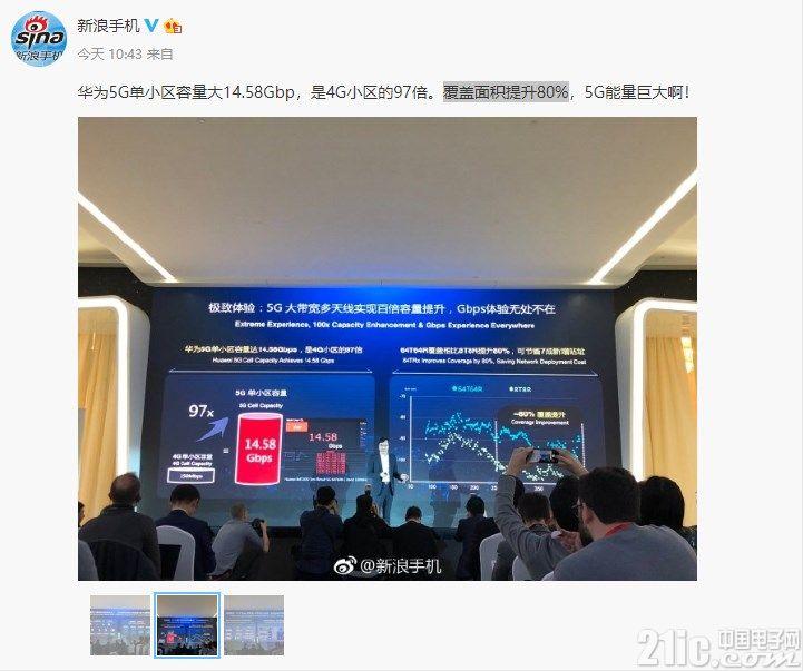 华为5G实力强悍!单小区容量是4G的97倍,覆盖面积提升80%!