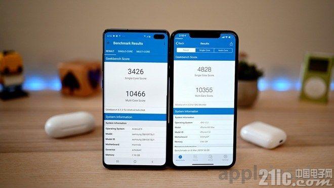 三星Galaxy S10+和�O果iPhone XS Max跑分�Ρ龋航Y果令人意外