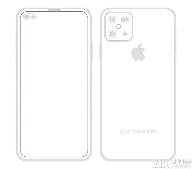 疑似苹果iPhone XIS设计图曝光:打孔屏/前置双摄/后置浴霸四摄