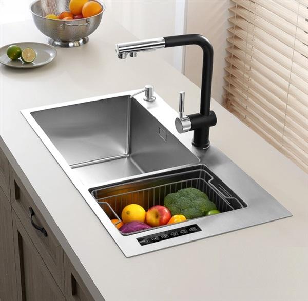 美仕杰水槽净洗机,再也不用手洗螃蟹、土豆了